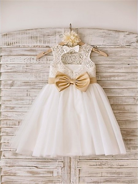 A-line/Princess Sleeveless Bowknot Scoop Floor-Length Tulle Flower Girl Dresses